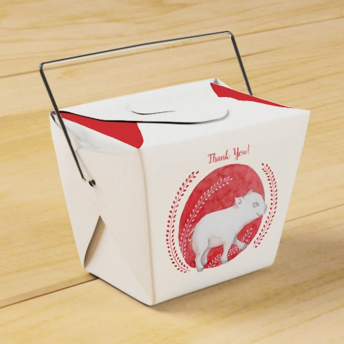 Circle Pig Take Out Favor Boxes by Floating Lemons Art:  USA  and  UK