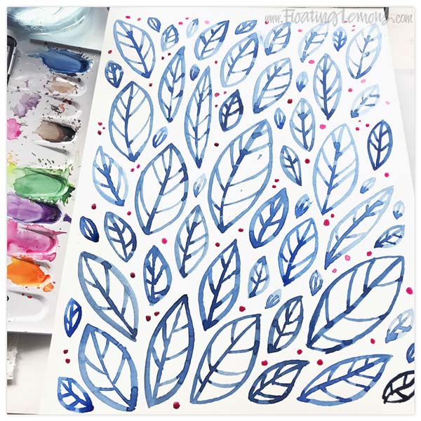 Blue Leaves by  Floating Lemons Art