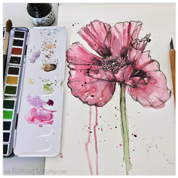 Pen and Ink Poppy by  Floating Lemons Art