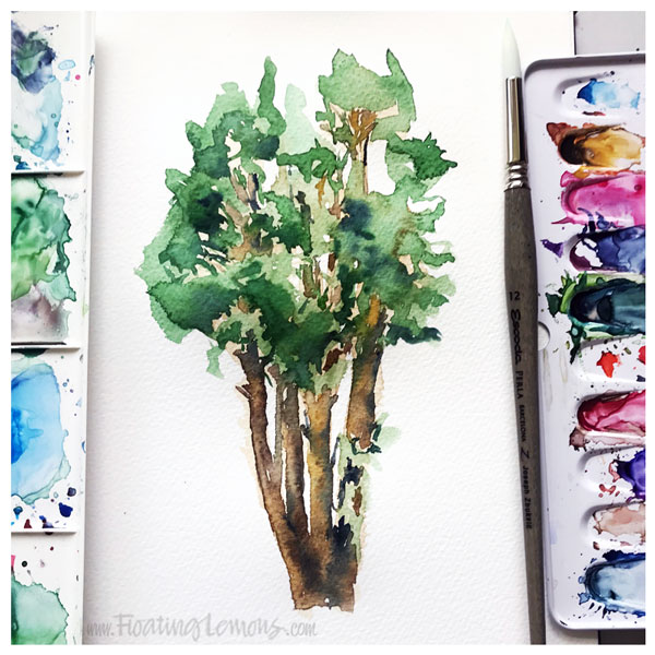 Watercolour Tree by  Floating Lemons Art
