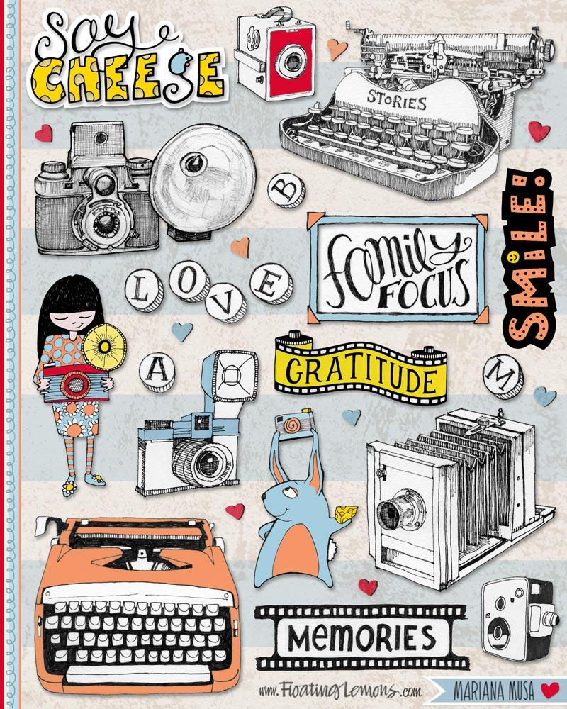 Cameras Typewriters by  Floating Lemons Art