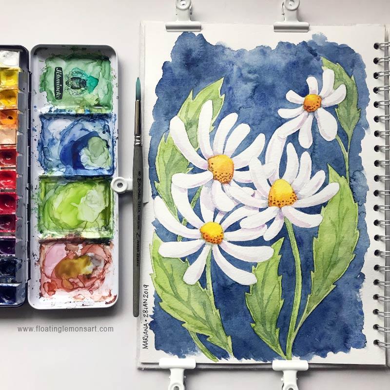 Daisies by  Floating Lemons Art