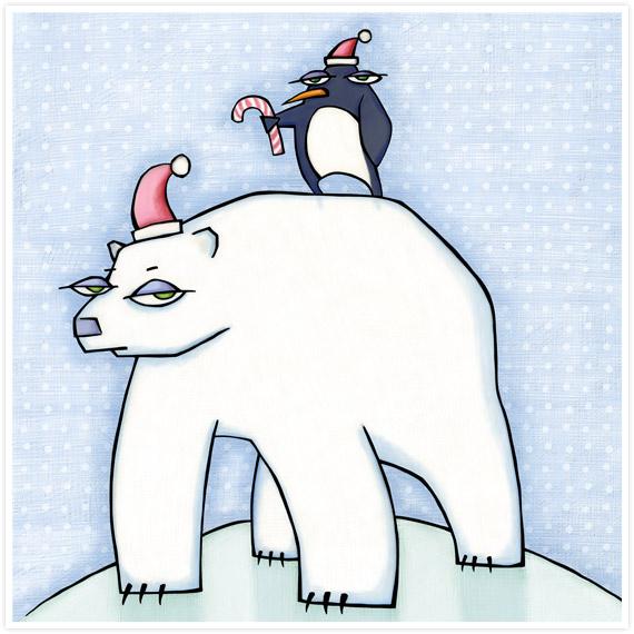 Polar Bear Christmas by  Floating Lemons Art
