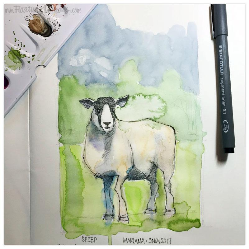 Sheep by  Floating Lemons Art