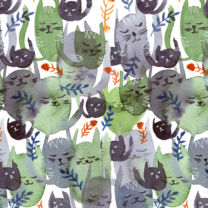 Cat Cacophony grey by  Floating Lemons Art