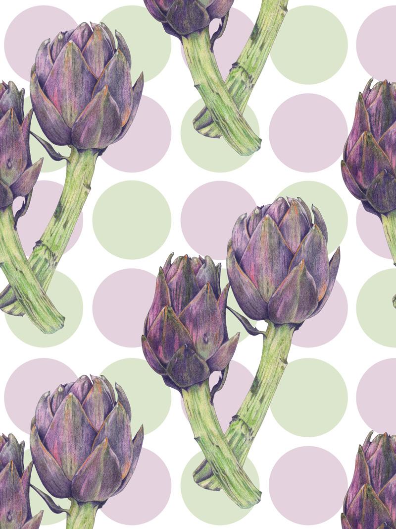 Purple Artichokes by  Floating Lemons Art