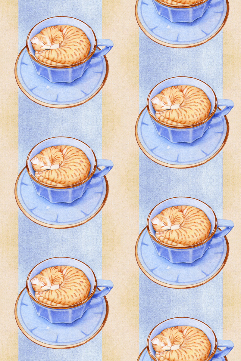 Cat in Coffee by  Floating Lemons Art
