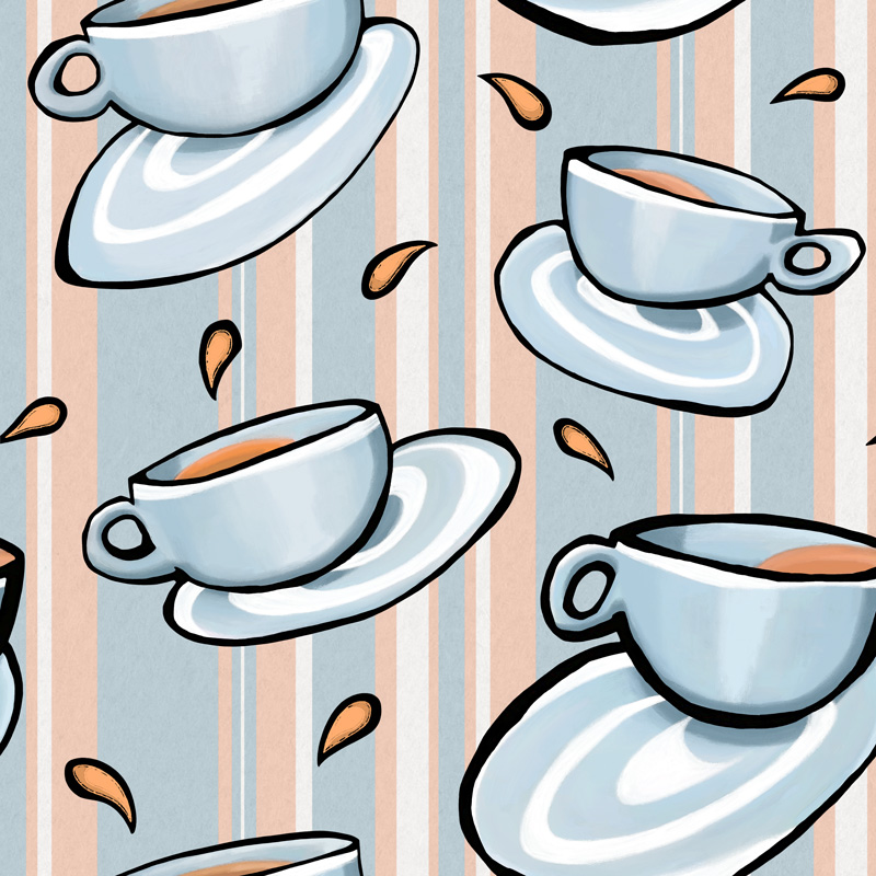 Cups Medley Blue by  Floating Lemons Art