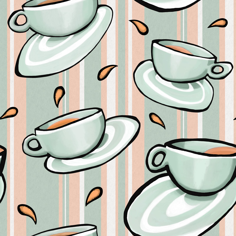 Cups Medley Green by  Floating Lemons Art