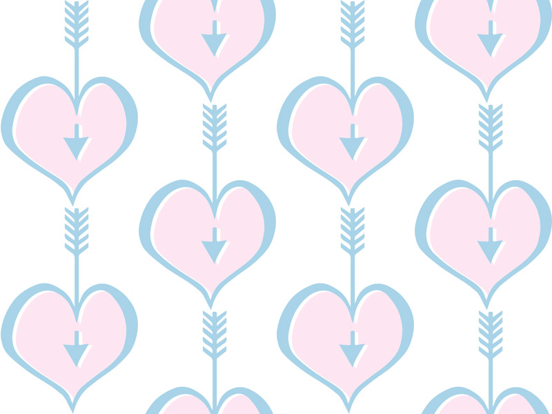 Hearts Pink Blue by  Floating Lemons Art