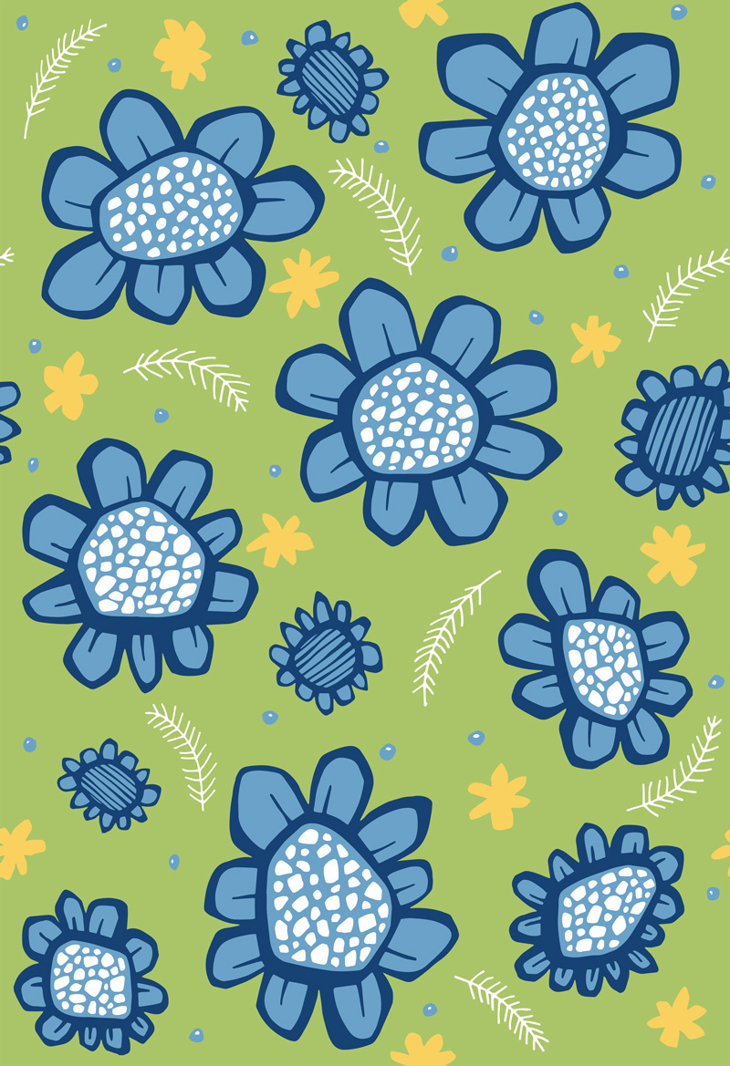 Pop Flowers Blue by  Floating Lemons Art