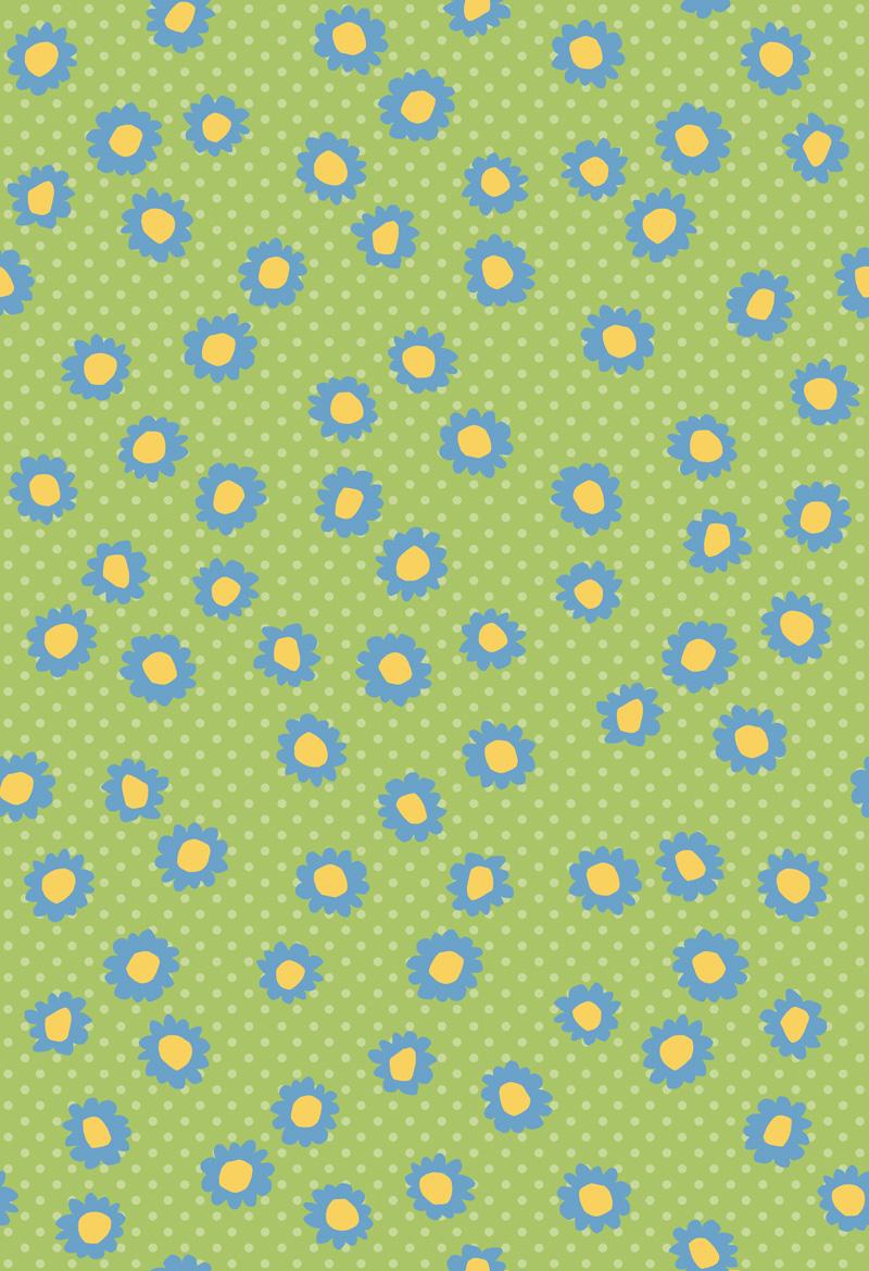 Pop Flowers Florettes Blue by  Floating Lemons Art
