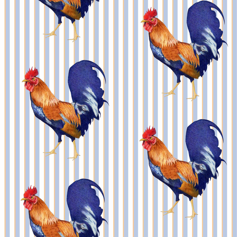 Rooster Stripes by  Floating Lemons Art