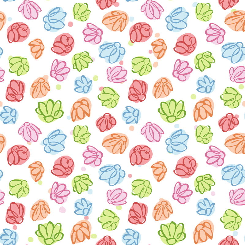 Wibbly Wobbly Flowers by  Floating Lemons Art