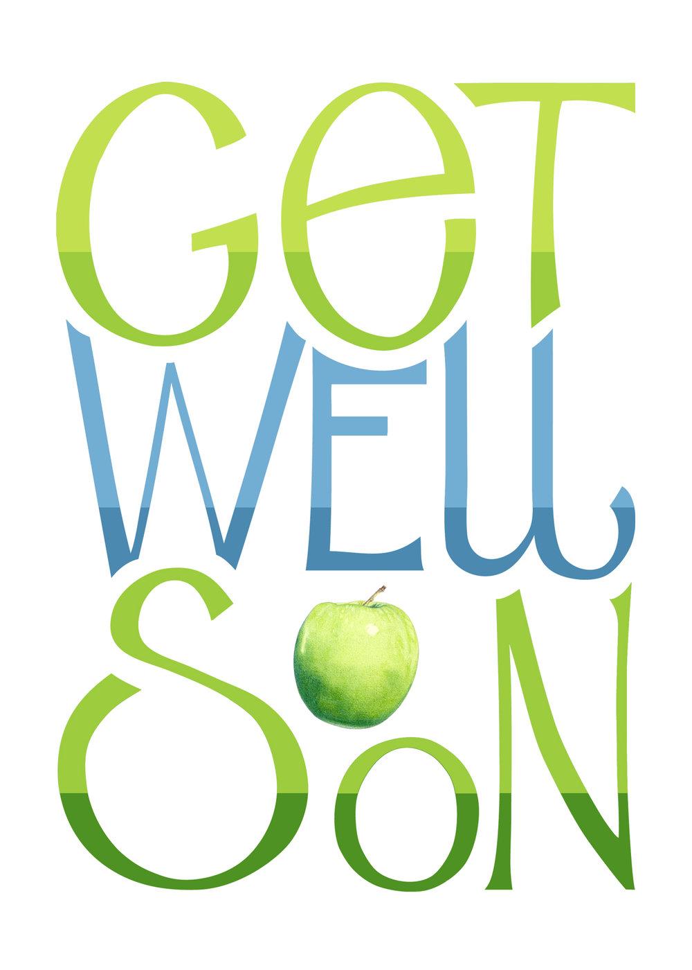 Get Well Soon Apple by  Floating Lemons Art