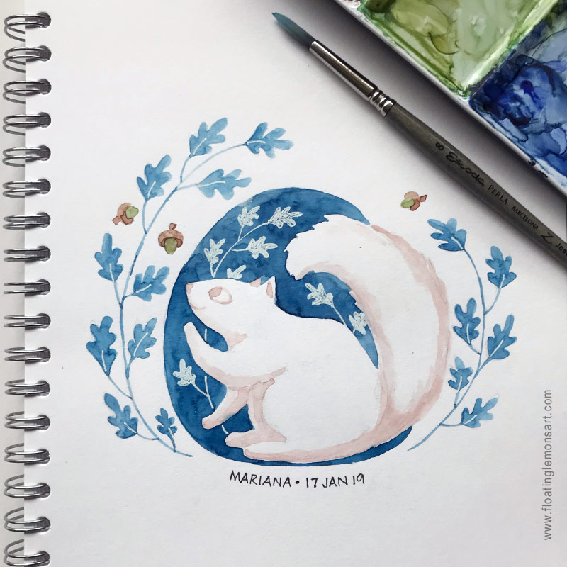Circle Squirrel by Mariana: Floating Lemons Art