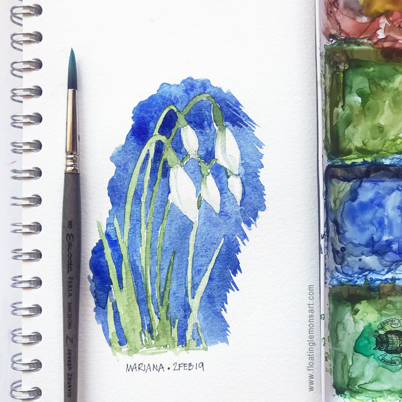 Snowdrops Sketch by Mariana :  www.floatinglemonsart.com