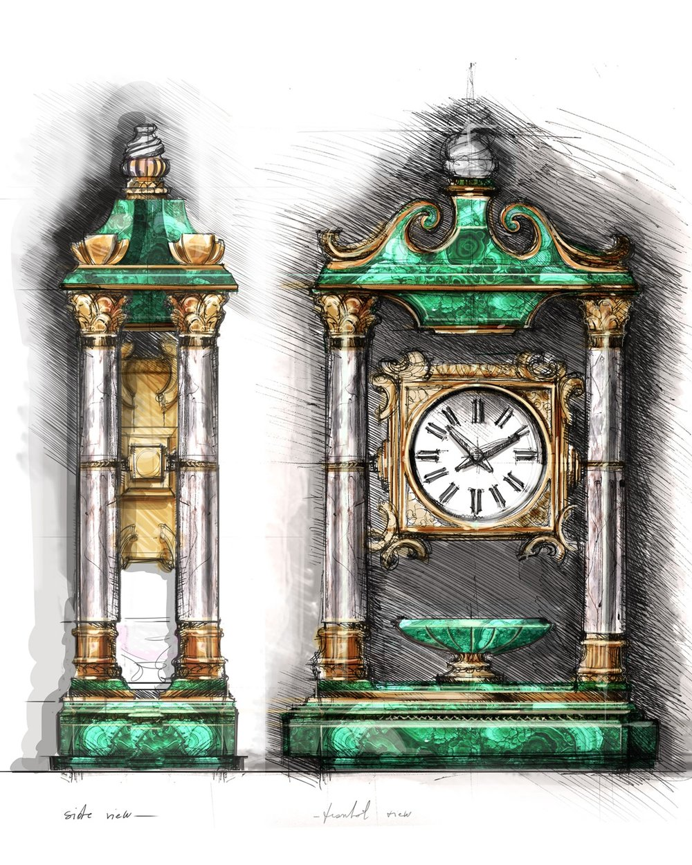 MALACHITE CLOCK, ..., 2...
