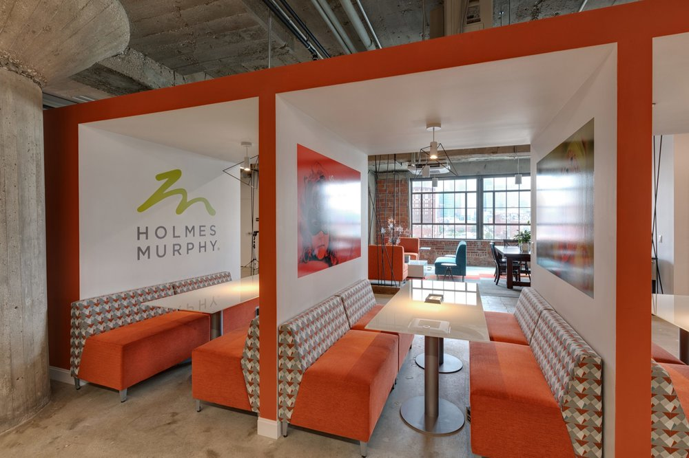 Meeting and work booths at Holmes Murphy & Associates