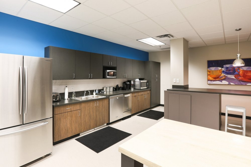 Employee break room at Power Source's newly-remodel corporate office