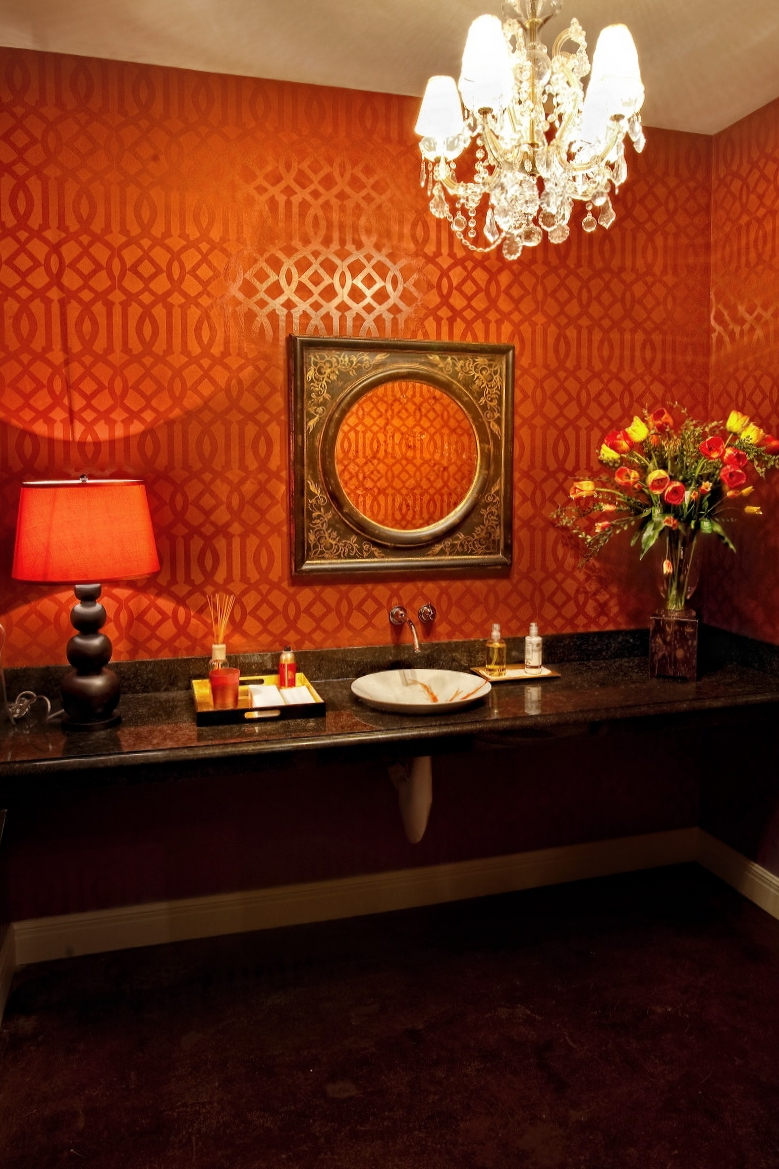 A bathroom in Noel's Fine Gifts retail store