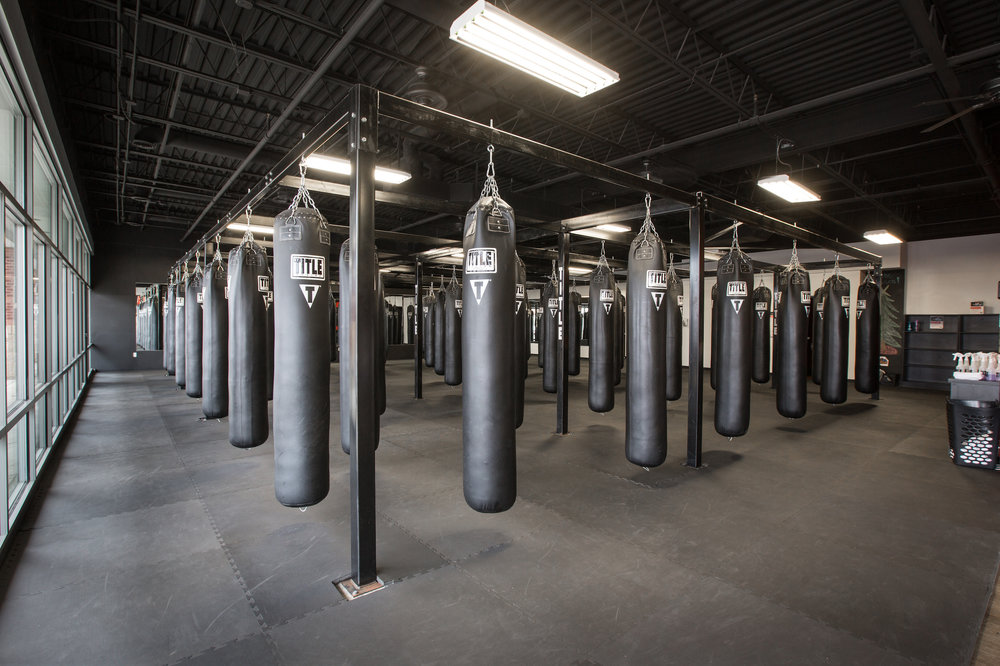 Punching bags at TITLE Boxing Club