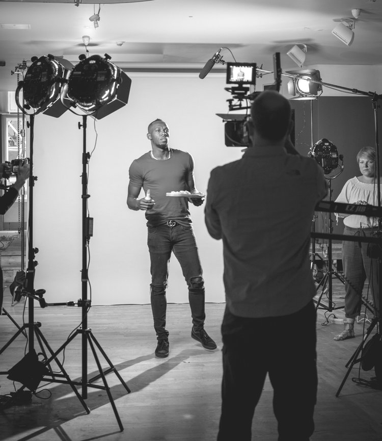 Using a green screen gave James (creative director) a huge amount of flexibility creating backgrounds for Usain.