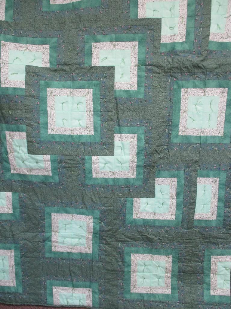 5, GREEN GARDEN COMFORTER, 64x72, Pieced by Karen Manderson, Knotted by Charlotte Stratton
