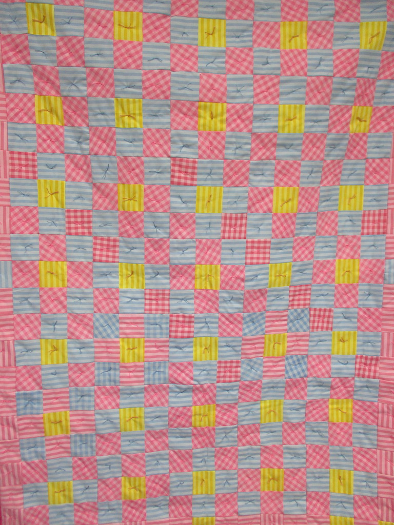 7, PASTEL SQUARES COMFORTER, 60x80, Pieced and Knotted by Janet Crider