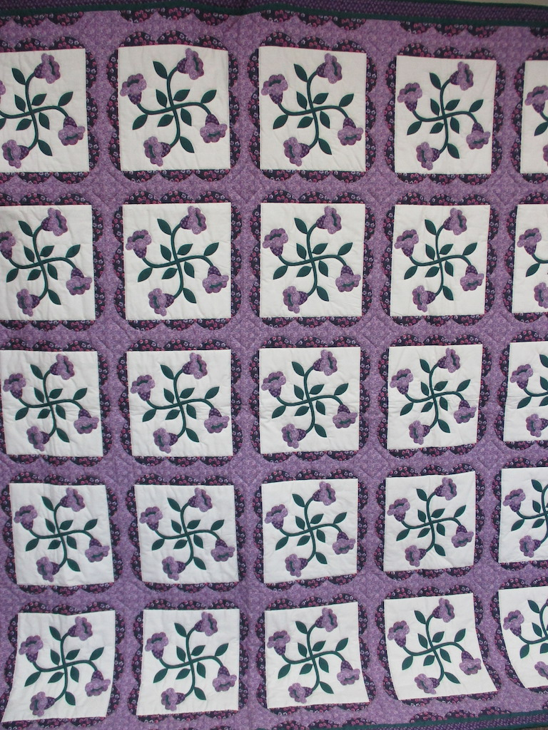 11, PURPLE BLOOMS PREPRINT, 90x94, Quilted by Esther Strite, Donated by Cumberland Valley Relief Center