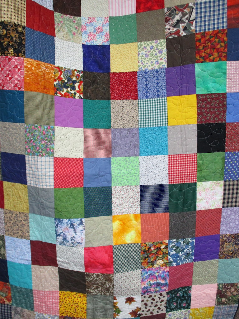 19, SCRAPPY (machine quilted), 60x77, Pieced by Mildred Groff, Donated by Cumberland Valley Relief Center