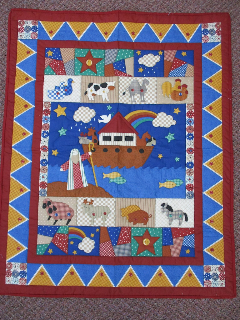 27, NOAH'S ARK PREPRINT, 34x44, Quilted by Esther Strite, Donated by Cumberland Valley Relief Center