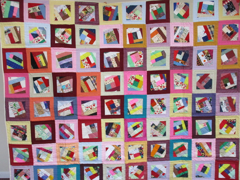37, CRAZY PATCHES, 80x90, Donated by Hershey's Mennonite Church Sewing Circle
