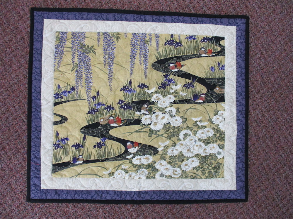40, ORIENTAL-LOOK DUCKS PREPRINT, 22x25, Pieced, Quilted and Donated by Fannie Ellenberg