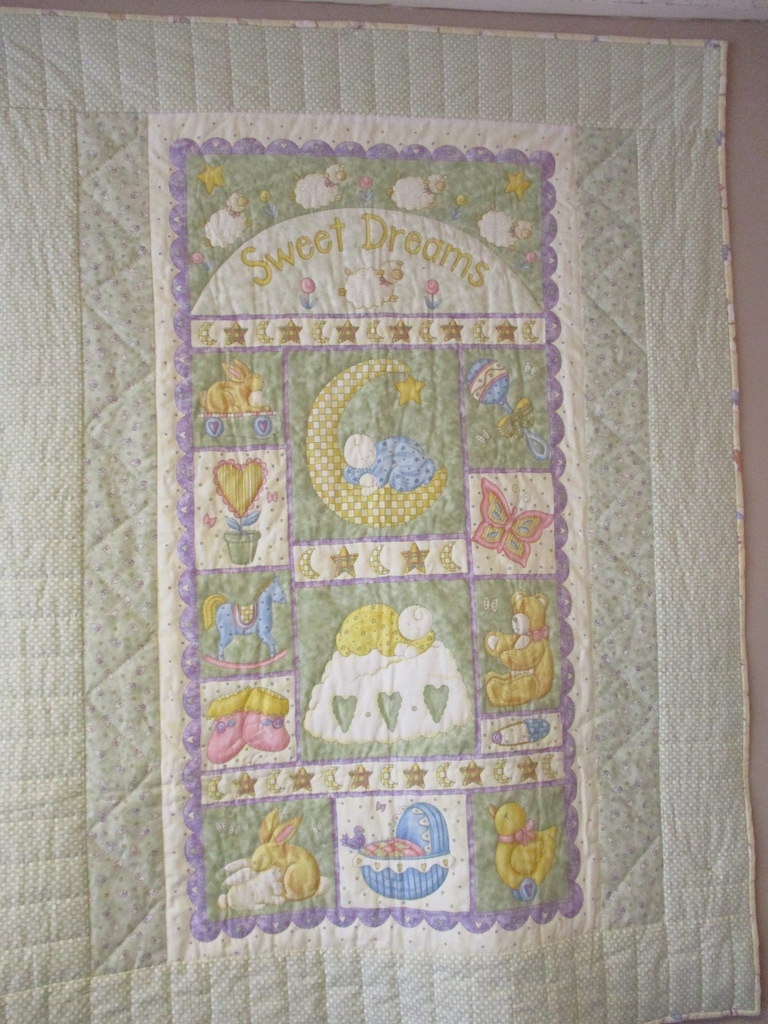 47, SWEET DREAMS PREPRINT (signed and dated), 38x50, Pieced by Juanita Fix, Quilted by Marie Eby
