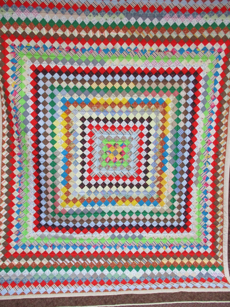 63, TRIP AROUND THE WORLD, 81x98, Quilted and Donated by Mt. Joy Mennonite Sewing Circle