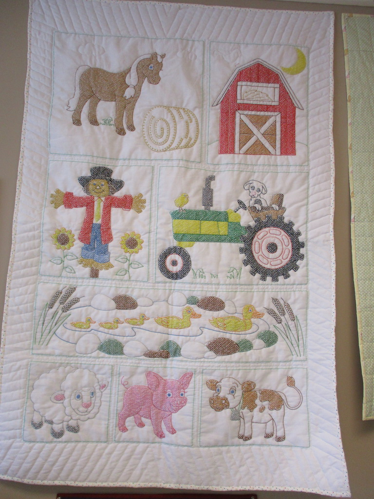 66, FARMERS' PRIDE (signed and dated), 38x58, Quilted by Cora Horst, Embroidered by Ethel Clemons