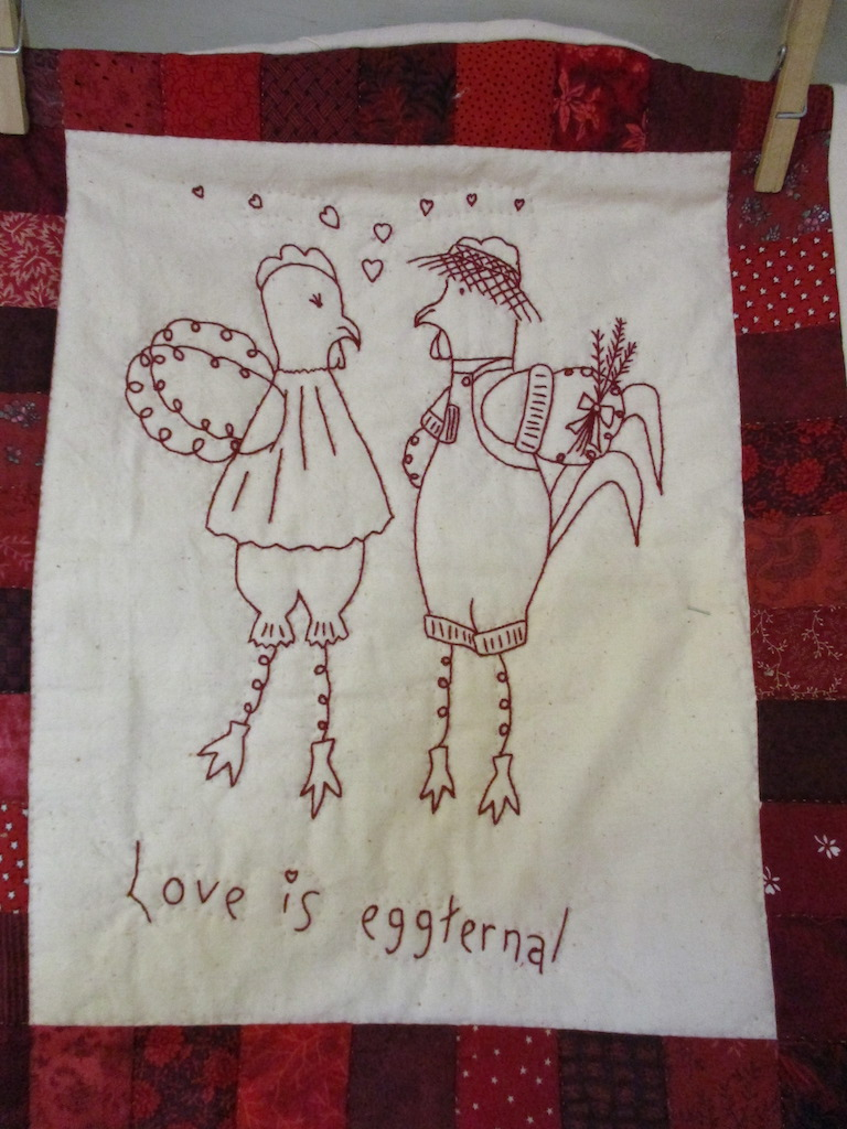 73, LOVE IS EGGTERNAL (signed and dated), 13x16, Pieced by Carlene Brenize, Quilted by Fannie Frey