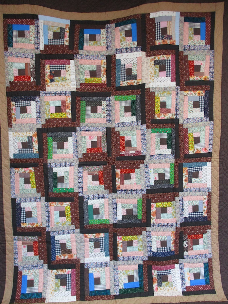 75, LOG CABIN, 78x101, Pieced, Quilted and Donated by Irene Shenk