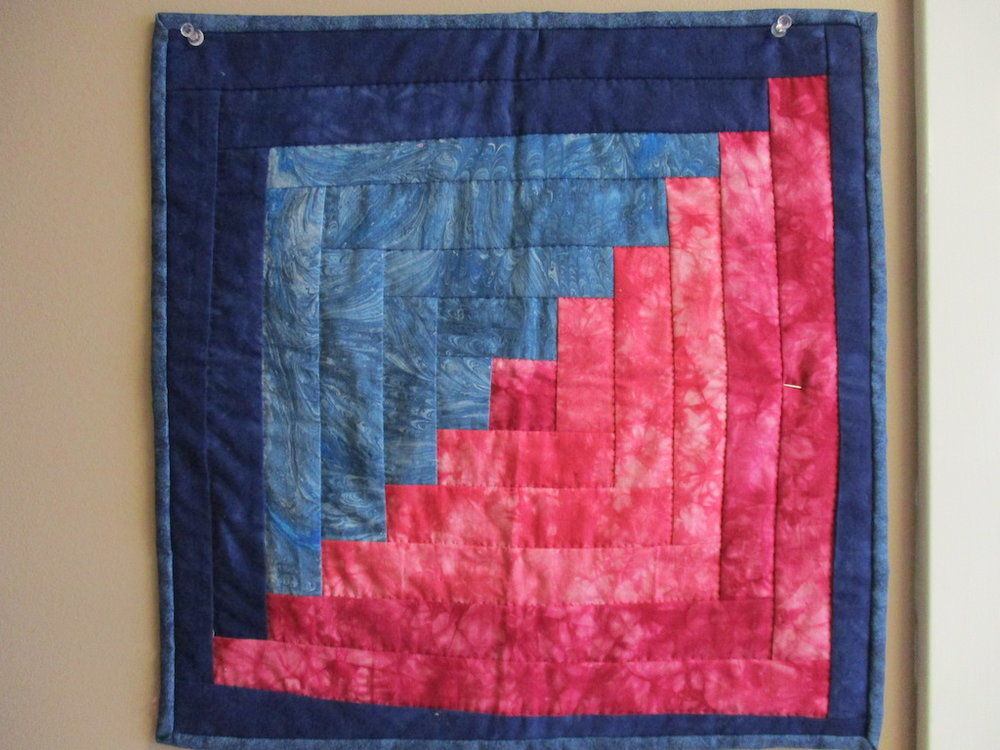 83, LOG CABIN (signed and dated), 17x17, Pieced and Quilted by Fran Fitz Kennedy