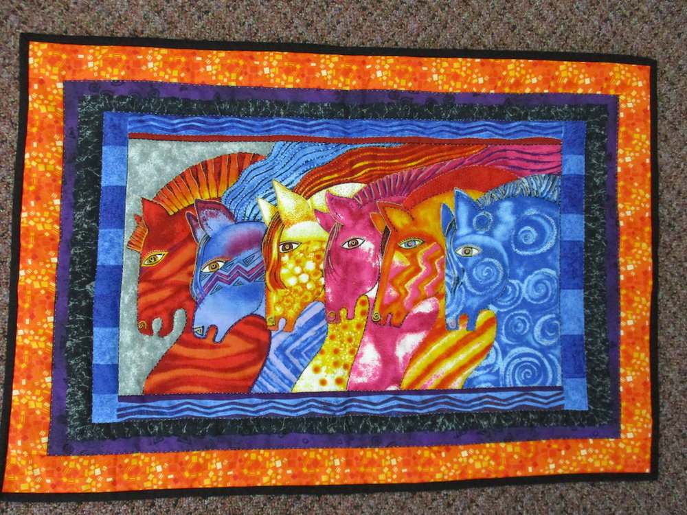 88, MEDIEVAL HORSES (preprint, signed and dated), 17x25, Pieced, Quilted and Donated by Janet Runion Patton
