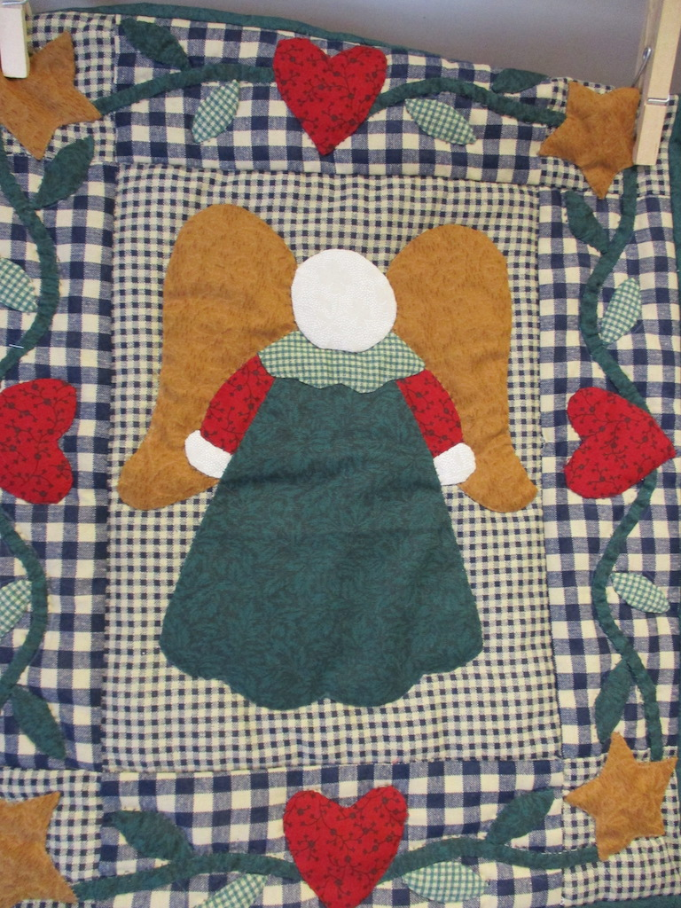 101, ANGEL (signed and dated), 12x15, Appliqued by Dorothy Crider, Quilted by Fannie Frey, Donated by Cumberland Valley Relief Center