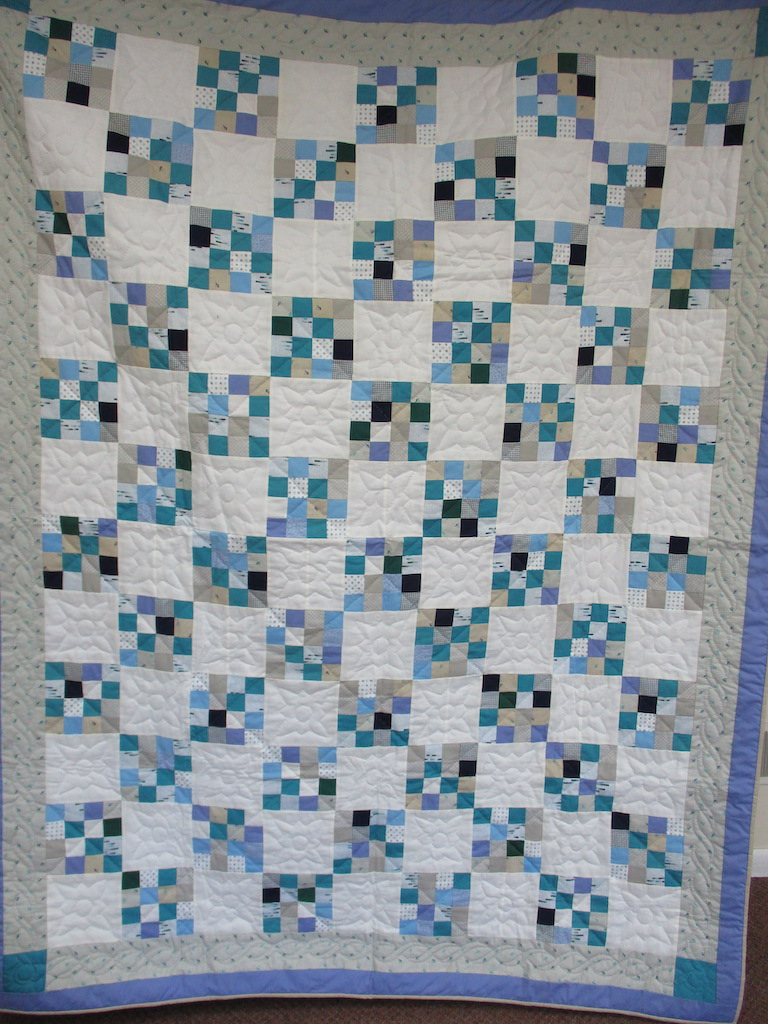 104, BLUE SIXTEEN PATCH, 65x85, Quilted and Donated by Bowmansville Mennonite Sewing Circle