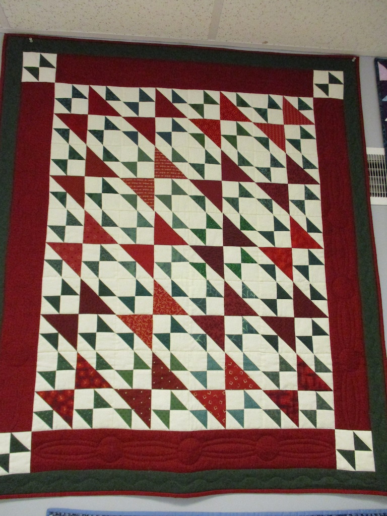 111, DOUBLE X (signed and dated), 43x50, Pieced by Ann Grapes & Karen Manderson, Quilted by Susie DeVos