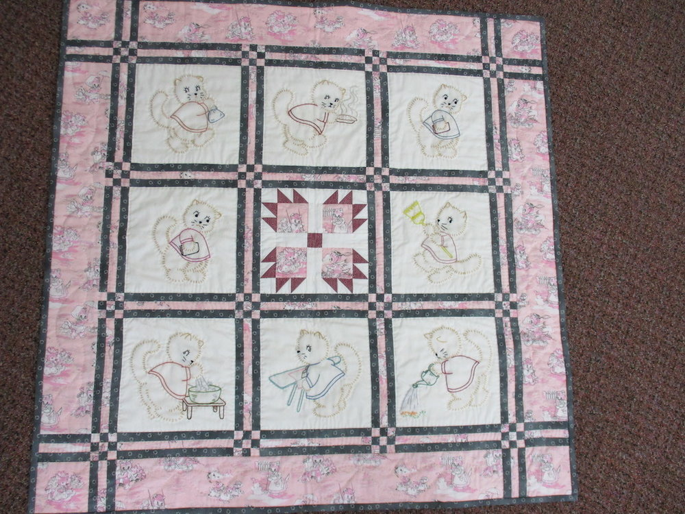 116, LET THE CATS DO IT!, 34x34, Pieced by Ellen Ressler, Donated by Quilters Attic, Quilted by Wendy Witter