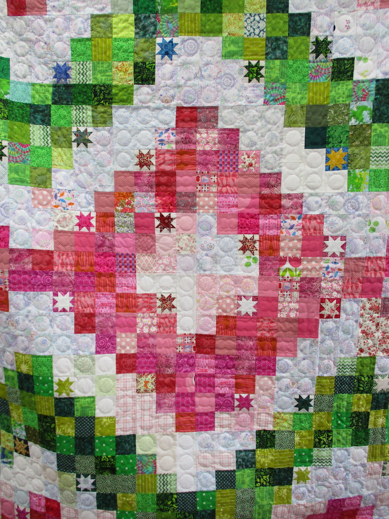 117, ON THE BRIGHT SIDE, 72x96, Pieced and Donated by Doris Whitmer, Quilted by MCC Volunteers