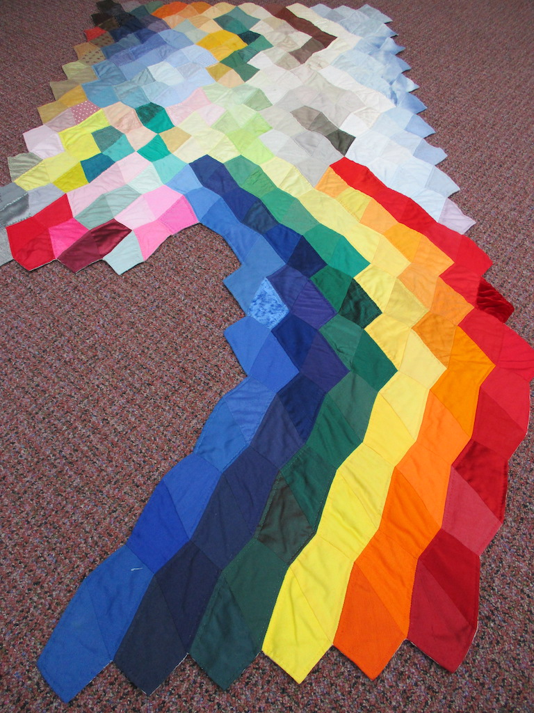 118, SWISS RAINBOW (signed and dated), 37x76, Pieced, Quilted and Donated by Marianne Pfenninger