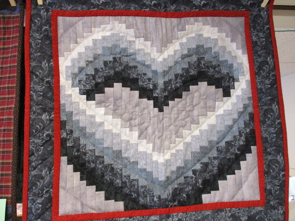 125, OPEN HEART (signed and dated), 23x23, Quilted by Fannie Frey, Pieced by Dorothy Crider
