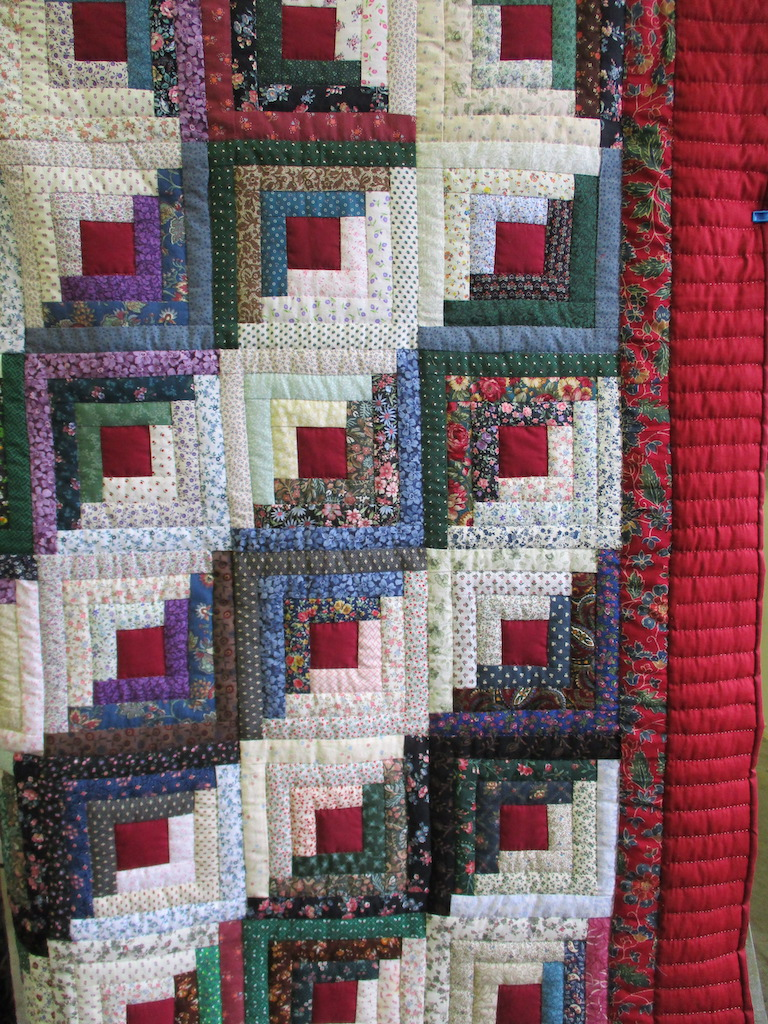 129, LOG CABIN  (signed and dated), 72x86, Pieced by A friend of Cumberland Valley Relief Center, Quilted by Cedar Grove Mennonite Church Sewing Circle