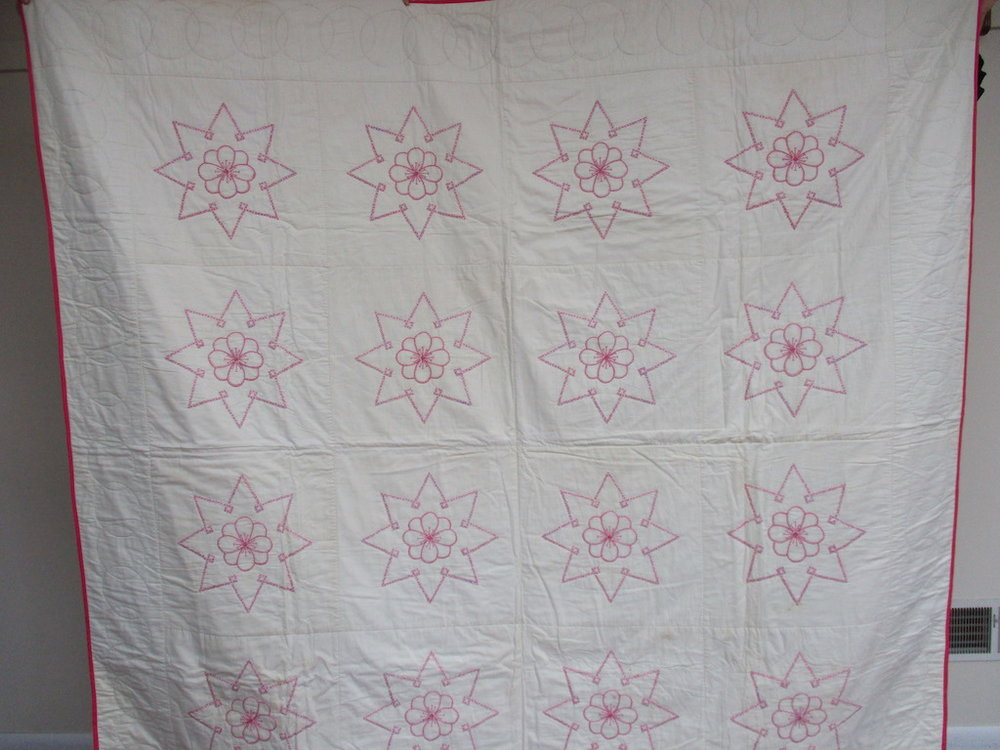 153, VINTAGE EMBROIDERED FLOWER IN A STAR, 80x82, Donated by A friend of MCC